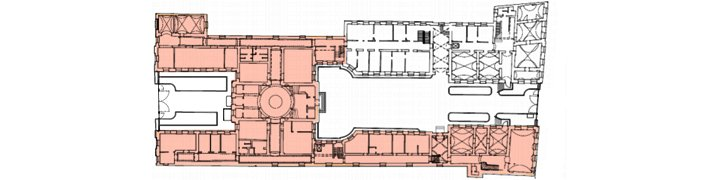 Ground floor plan with parts used by the client marked in red