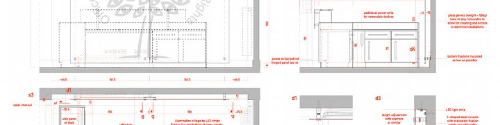 reception desk and screen installation drawing